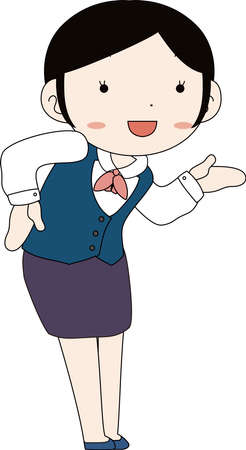 This is a illustration of Cute pose of cute Black hair Female bank clerk  Ilustrace