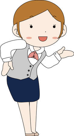 This is a illustration of Cute pose of cute Black hair Female bank clerk  Vectores