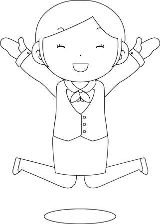 This is a illustration of Cute pose of cute Black hair Female bank clerk