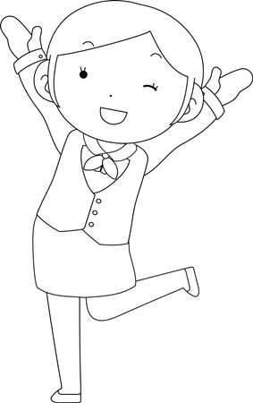 This is a illustration of Cute pose of cute Black hair Female bank clerk  Vettoriali