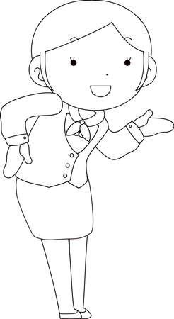 This is a illustration of Cute pose of cute Black hair Female bank clerk  Иллюстрация
