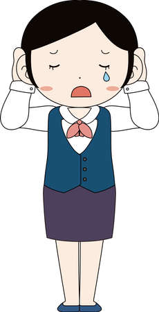 This is a illustration of Cute pose of cute Black hair Female bank clerk   イラスト・ベクター素材