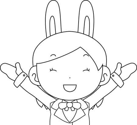 This is a illustration of cosplayer girl in a sailor suit with Rabbit ears Upper body Illustration