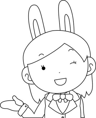This is a illustration of cosplayer girl in a sailor suit with Rabbit ears Upper body