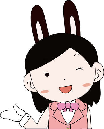 This is a illustration of cosplayer girl in a sailor suit with Rabbit ears Upper body  Иллюстрация