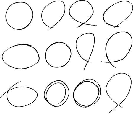 This is a illustration of Variations of thin circles for handwritten scoring