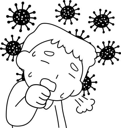 This is a illustration of Man infected with the new coronavirus