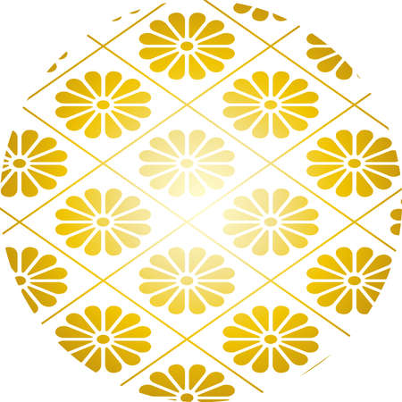 This is a illustration of Japanese style chrysanthemum crest background material Banque d'images - 152525844
