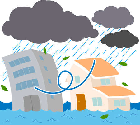 This is a illustration of Buildings and houses damaged by heavy rain and flood