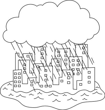 This is a illustration of Buildings damaged by heavy rain and flood