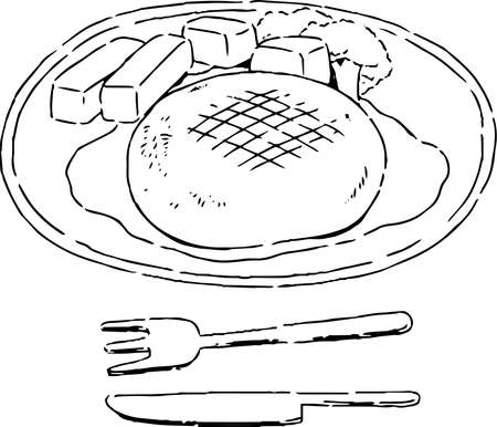 This is a illustration of Hamburger steak illustration