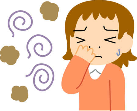 This is a illustration of Woman troubled in stinking smell