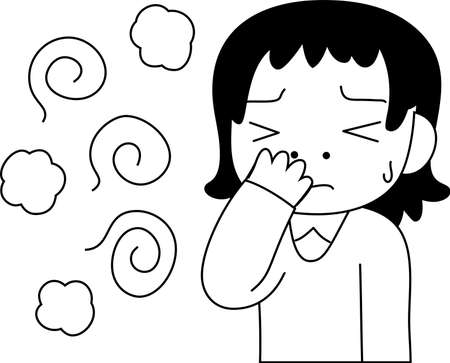 This is a illustration of Woman troubled in stinking smell outline