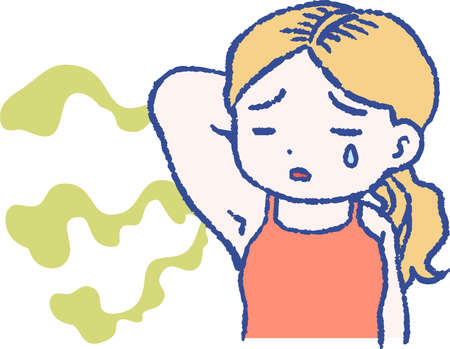 This is a illustration of Woman suffering from armpit odor 向量圖像