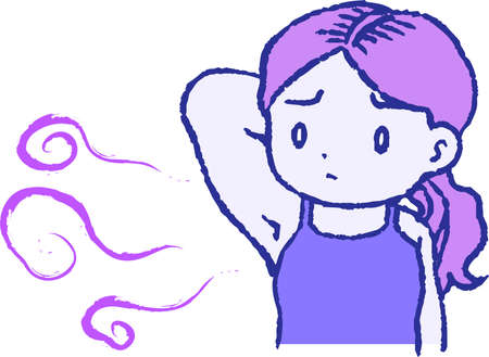 This is a illustration of Purple Woman suffering from armpit odor 向量圖像