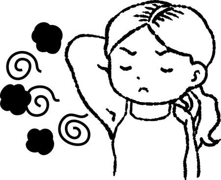 This is a illustration of Monochrome Woman suffering from armpit odor