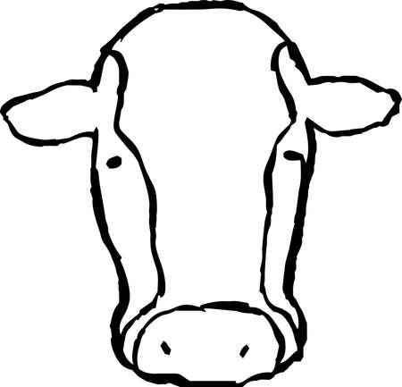This is a illustration of Hand drawn realistic dairy cowillustration Ilustração