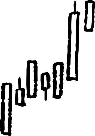 This is a illustration of Monochrome Illustration showing a stock price surge set