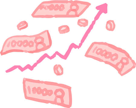 This is a illustration of POP Illustration showing a stock price surge set
