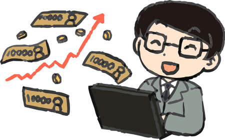 This is a illustration of Office worker who made a lot of money by investing
