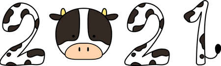 This is a illustration of 2021 Holstein cow character 向量圖像