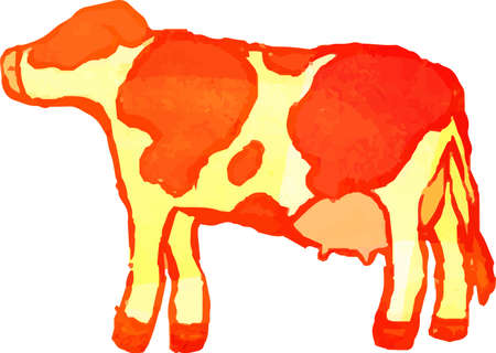 This is a illustration of Warm Watercolor Realistic hand-painted Holstein cow Illusztráció