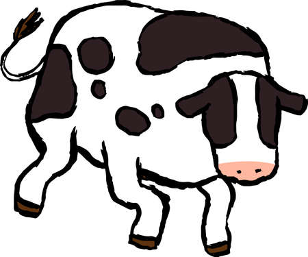This is a illustration of Realistic hand-painted Holstein cow