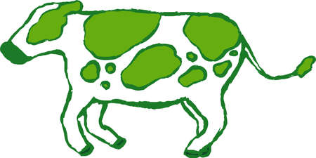 This is a illustration of Green Realistic hand-painted Holstein cow