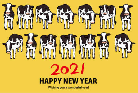 This is a illustration of Holstein cows line up of 2021 New Years card