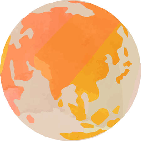 This is a illustration of Warm Watercolor-like Illustration of a round earth Vetores