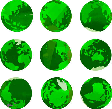 This is a illustration of Green Watercolor-like Illustration of a round earth