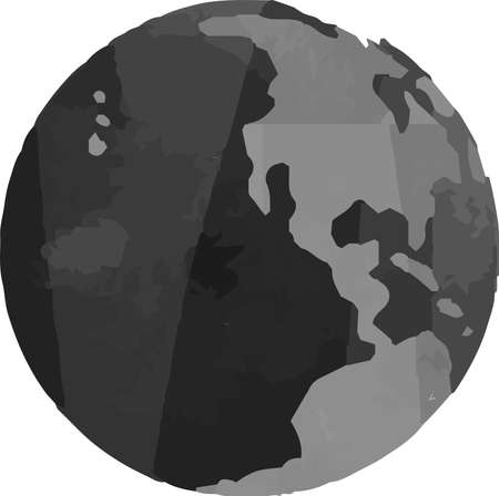 This is a illustration of Monochrome Watercolor-like Illustration of a round earth
