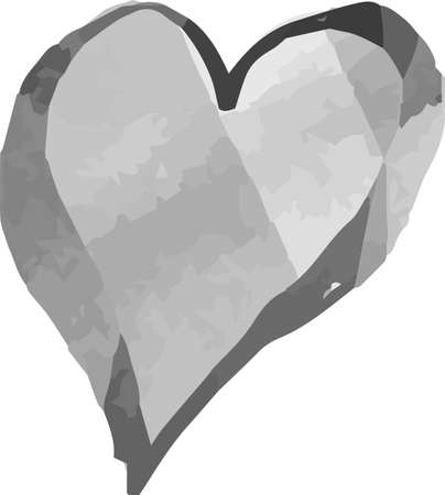 This is a illustration of Monochrome Watercolor-like handwriting Cute heart with Black frame