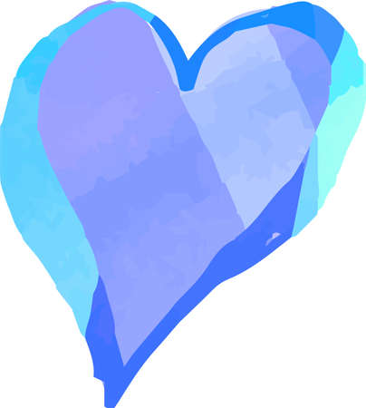 This is a illustration of Cold Watercolor-like handwriting Cute heart with Blue frame 일러스트