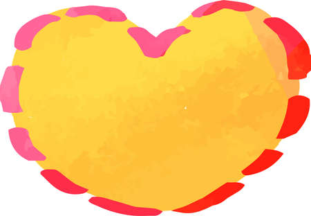 This is a illustration of Warm Watercolor-like handwriting Cute heart with Red frame