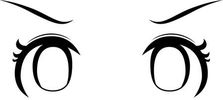 This is a illustration of Monochrome Cute anime-style eyes with an angry look