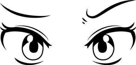 This is a illustration of Monochrome Cute anime-style eyes with a suspicious expression