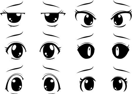 This is a illustration of Cute anime-style big black eyes with a sad expression