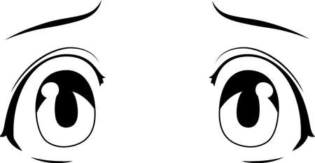 This is a illustration of Monochrome Cute anime-style eyes with a sad expression