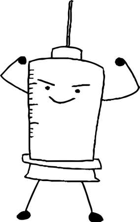 This is a illustration of Monochrome Hand drawn syringe