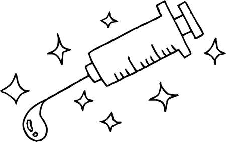 This is a illustration of Monochrome Hand drawn cute medical syringe
