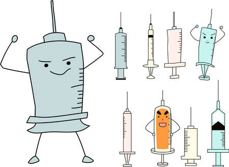 This is a illustration of Simple Colorful syringe