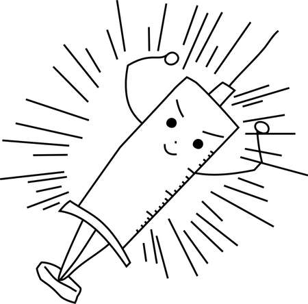 This is a illustration of Monochrome Cute medical syringe to infuse Ilustração
