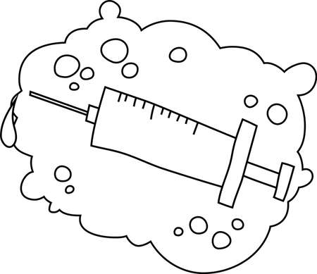 This is a illustration of Monochrome Cute medical syringe to infuse Vectores