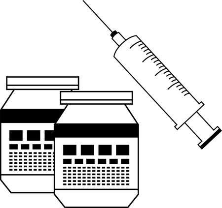 This is a illustration of  Monochrome cute virus preventive vaccine injection