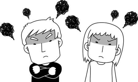 This is a illustration of Monochrome angry couple making a fierce complaint