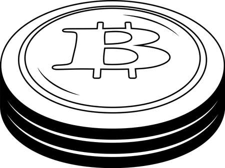 This is a illustration of Monochrome 3 stacked Bitcoin medals