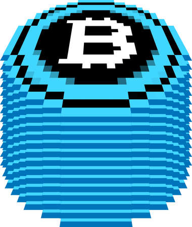 This is a illustration of Bitcoin medals piled up a little