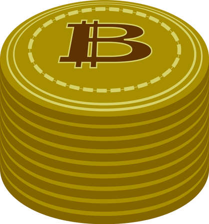 This is a illustration of Bitcoin medals piled up a little Ilustración de vector