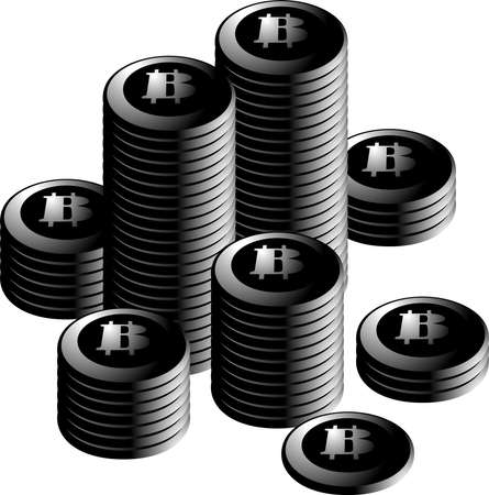 This is a illustration of Monochrome Bitcoin medals piled up a lot